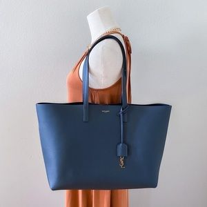 The Large Leather Shopper Tote by YSL